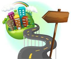 Een weg die naar de stad gaat met een arrowboard
