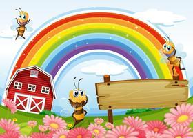 Een leeg bord op de heuveltop met een barnhouse en een regenboog