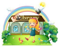 Een meisje dat met vogels buiten de bibliotheek danst
