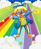 Een clown op de kleurrijke weg