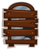Gebroken ramen met houten plank