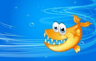 Een zee met een gele haai vector