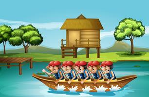Een groep mannen varen