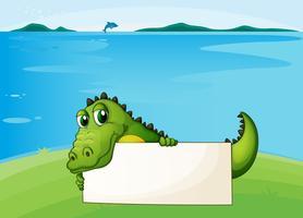 Een krokodil die een leeg uithangbord houdt