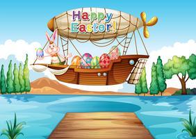 Een gelukkige groet van Pasen boven de rivier