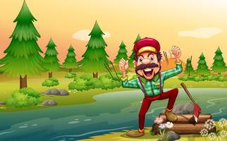 Een gelukkige houthakker aan de rivieroever