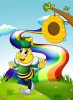 Een lachende bij met een pot honing op de heuveltop met een regenboog