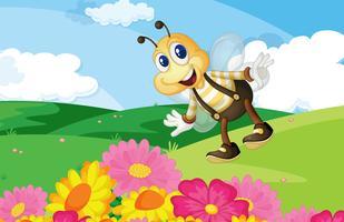 Bee in het veld