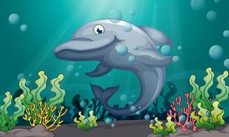 Een haai onder de zee vector