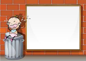 Een kind boven de vuilnisbak naast het lege houten bord