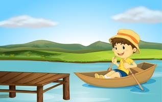 Een jongen in een boot en een houten bank