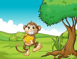 Een gelukkige aap met bananen