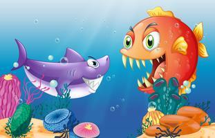 Een prooi en een roofdier onder de zee