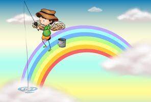 Een engel die boven de regenboog vist