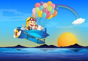 Een vliegtuig met apen en ballonnen