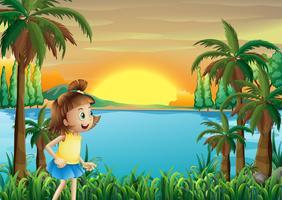 Een jong meisje dat dichtbij de rivier speelt vector
