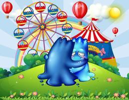Twee monsters troosten elkaar op de heuveltop met een carnaval