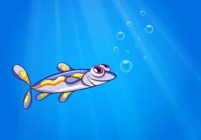 Een vis onder de zee vector