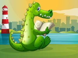 Een krokodil die over de vuurtoren leest