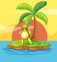 Een eiland met een gestrande schildpad bij de kokospalm
