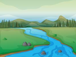 Een rivier, een bos en bergen