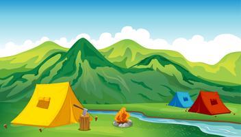 Camping tenten vector