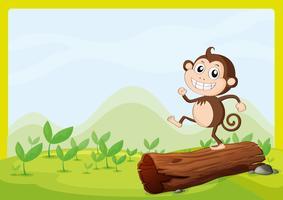 Een aap die op droog hout danst
