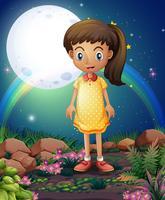 Een klein meisje in de rotstuin