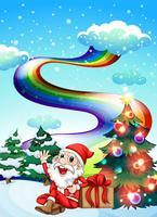 Een lachende kerstman met een regenboog aan de hemel
