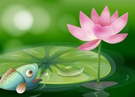 Een vis met een waterlelie en een bloem bij de vijver vector