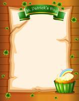Een krant met een St. Patrick's Day-begroeting en een cupcake