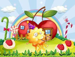 Apple huizen op de heuveltop aan de achterkant van het speelse monster vector