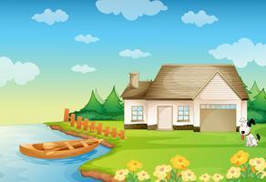 een huis aan de oever