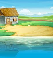 Een huis in de buurt van de rivier