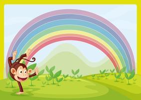Regenboog en aap spelen in de natuur
