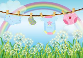 Hangende kleding voor peuters vector