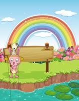 Konijn en regenboog vector