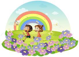 Kinderen in een veld achter insecten