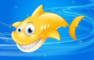 Een gele haai onder water