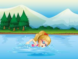 Een meisje dat dichtbij de pijnboombomen zwemt