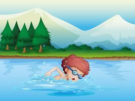 Een kleine jongen die zwemt