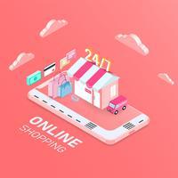 Online winkelen mobiel concept, isometrisch ontwerp. vectorillustratie