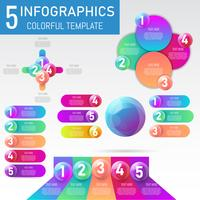 Reeks 3D de balgegevens van Infographicselementen, presentatie, bedrijfsprocesontwerp, vectorillustratie.