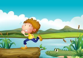 Een bang jongetje en de krokodil