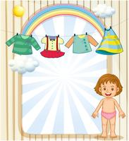 Een baby onder de hangende kleding vector