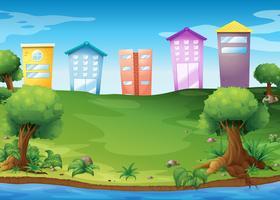 Hoge gebouwen aan het meer
