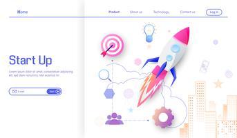 Start van de onderneming modern platte ontwerpconcept.