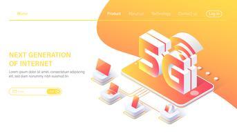 Isometrische 5G mobiele netwerk draadloze systemen en internet vectorillustratie. Communicatie netwerkconcept