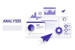 Mobiel en laptop Gegevensanalyse, onderzoek, planning, statistieken, financieel, infographic, beheer vectorconcept. Vector