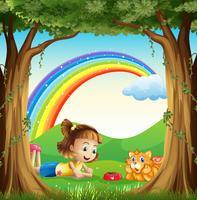 Een meisje en haar huisdier in het bos met een regenboog in de lucht